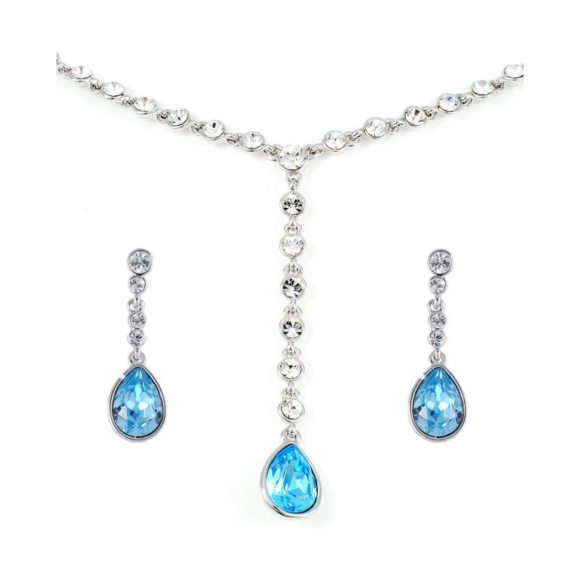90b918662 18K White Gold Plated Jewelry Set Encrusted with Blue Swarovski Crystals,  Women, SWR-301 - UPC: 100000055684 | ASWAQ.COM