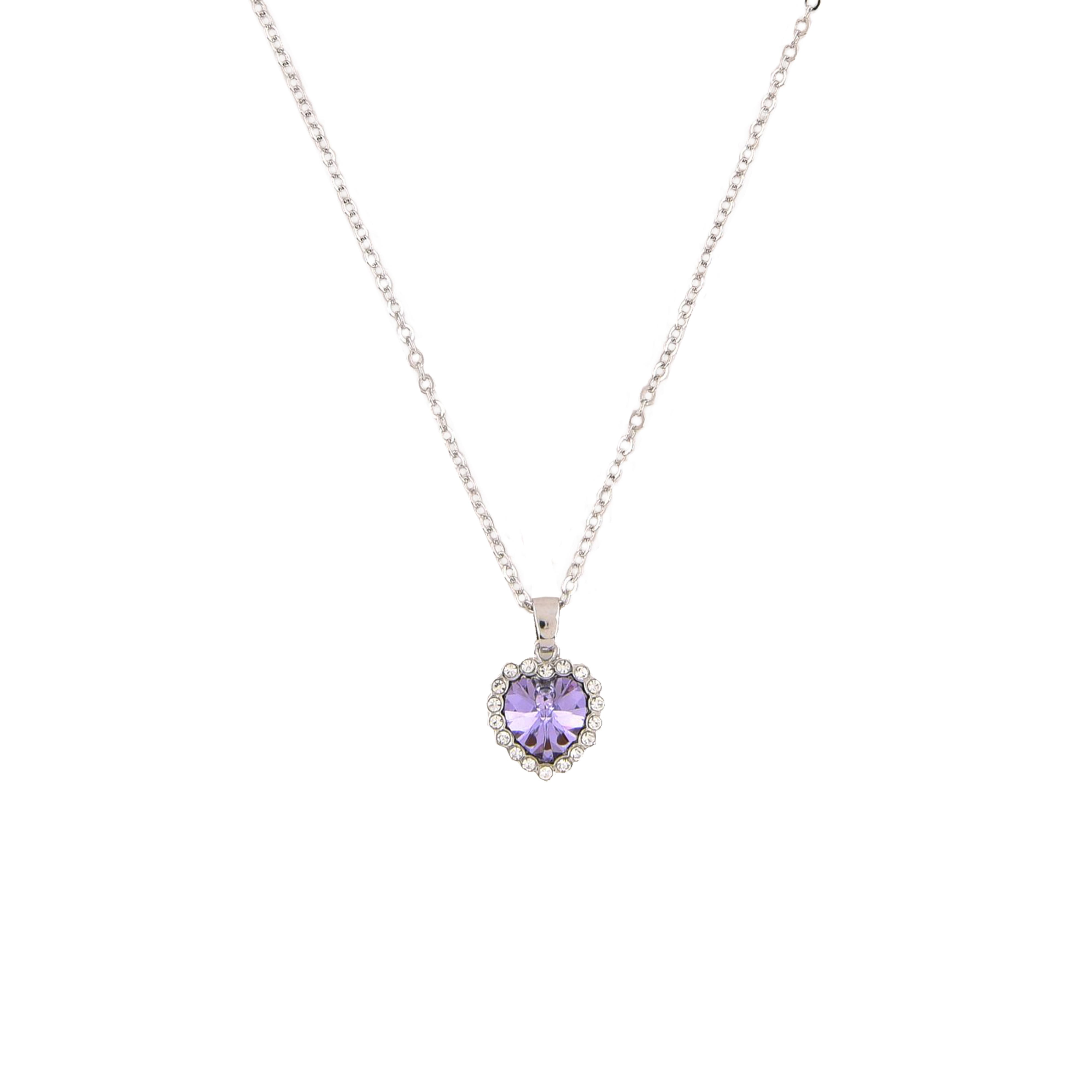 0069406288 18K White Gold Plated Necklace Encrusted with Purple Swarovski Crystals,  Women, SWR-331 - UPC: 100000055728 | ASWAQ.COM
