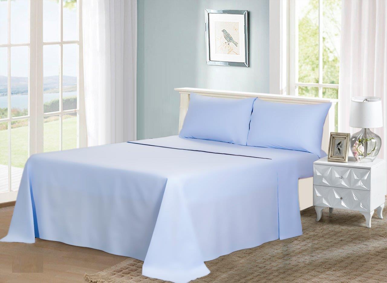 Cannon Plain Bedsheet Set, Twin Size, 3 Pcs, Lite Blue, CNON T3PCPL   UPC:  6281087600985 8 | ASWAQ.COM