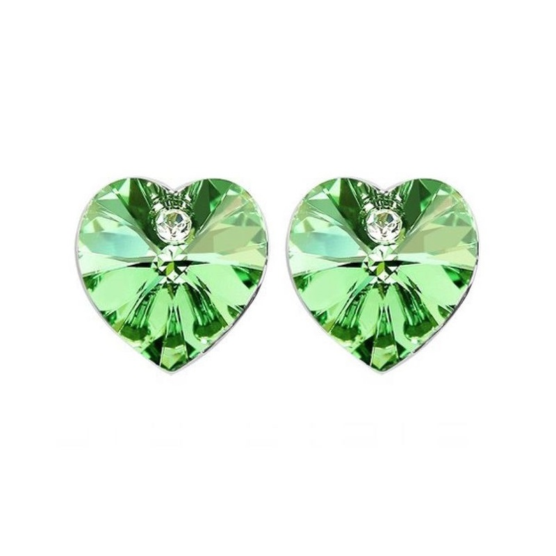 e98eac834 18K White Gold Plated Earrings Encrusted with Green Swarovski Crystals,  Women, SWR-402 - UPC: 10000023372 | ASWAQ.COM