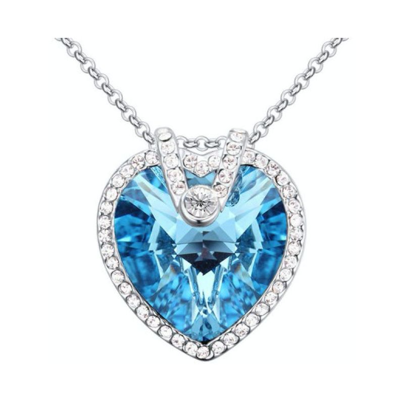 455d4b7e93 18K White Gold Plated Necklace Encrusted with Blue Swarovski Crystals,  Women, SWR-435 - UPC: 10000023380 | ASWAQ.COM