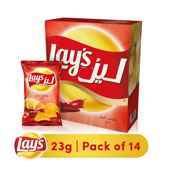 Lays Potato Chips Chili Flavor 14 Bags 23g Upc 6281036113252 Aswaq Com