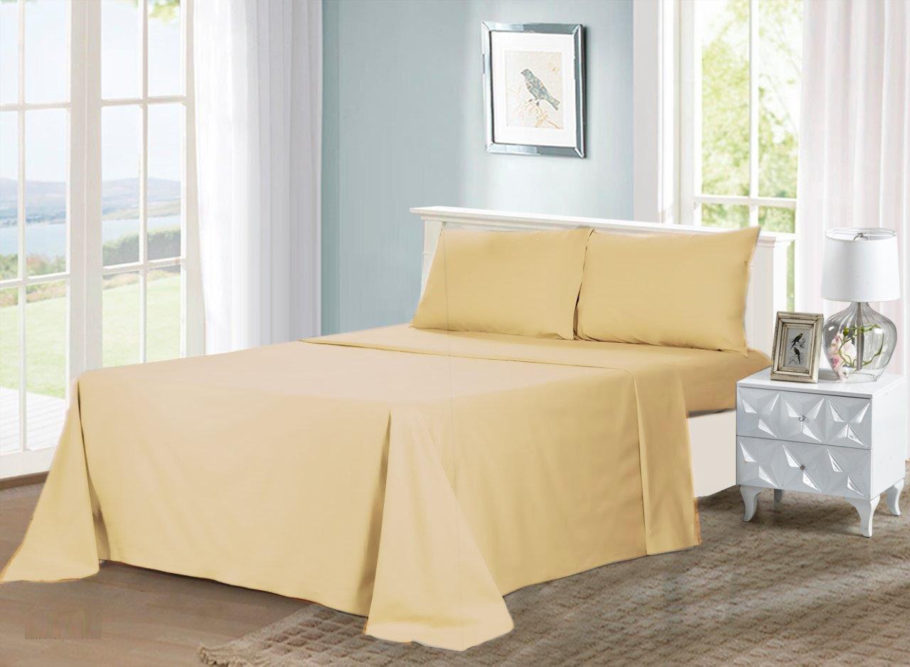 Cannon Plain Bedsheet Set, King Size, 4 Pcs, Gold, CNON K4PCPL100   UPC:  6281087600619 5 | ASWAQ.COM